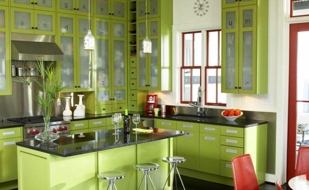 Оливковый цвет сочетание с другими цветами в интерьере кухни фото