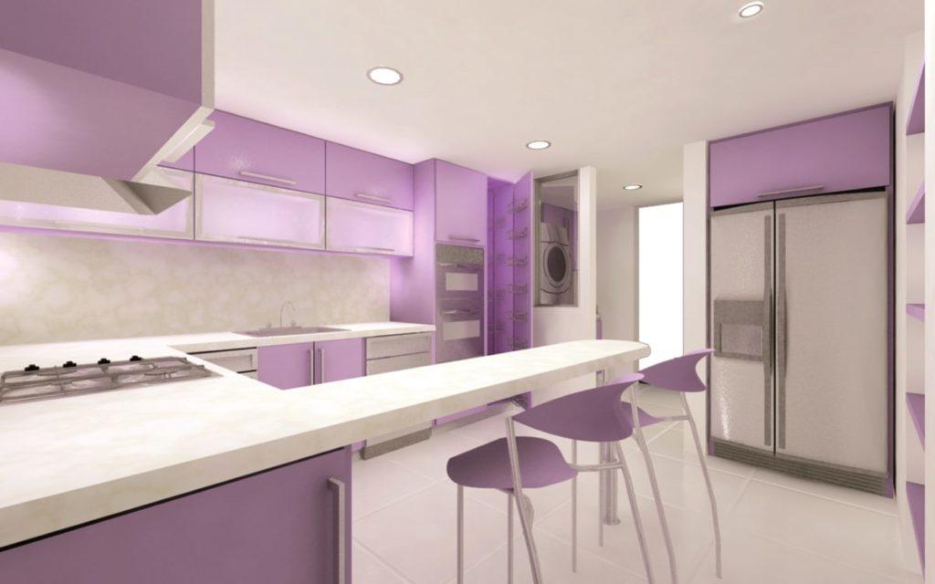 Кухня фиолетовая белая  № 1839170 бесплатно