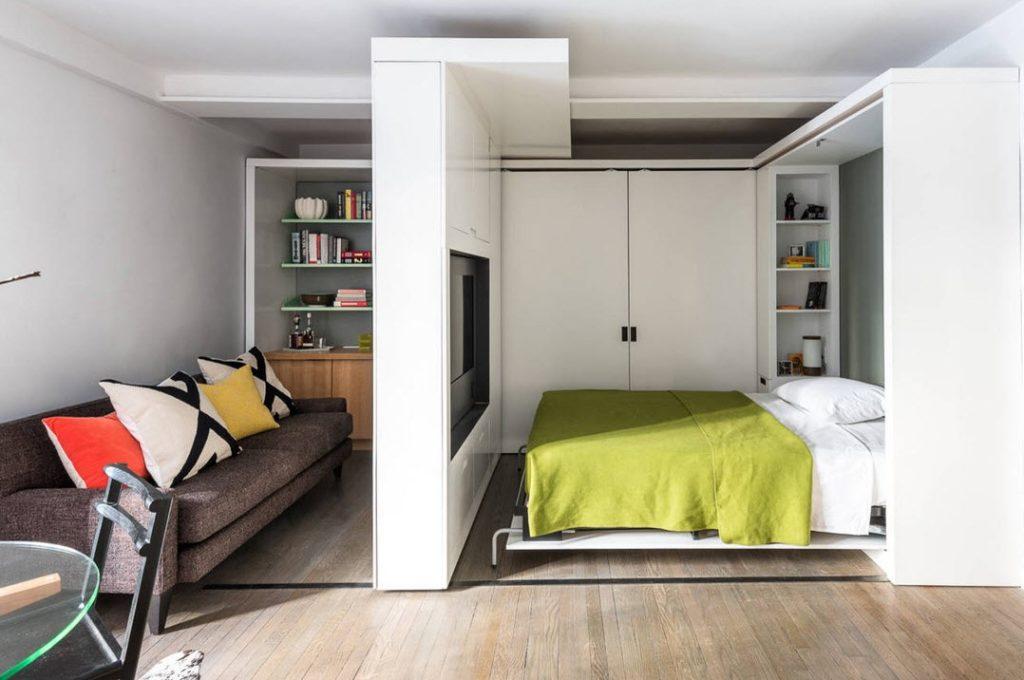 встроенная кровать в однокомнатной квартире фото всего покраска обоев
