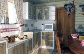 Кухня в деревенском стиле — освещение