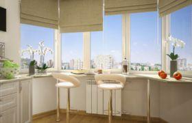 Стол подоконник на кухне как обеденная зона