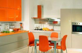 Красный и оранжевый цвет кухни в интерьере