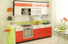 Оранжевая кухня оформление стен