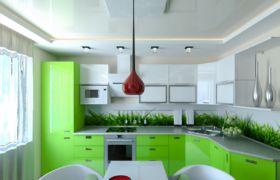 Потолок на зеленой кухне