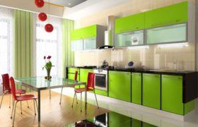 Салатовая кухня оформление стен и потолка